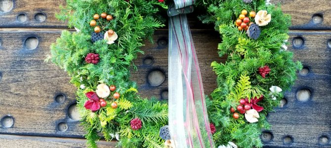 森のクリスマスリース作り